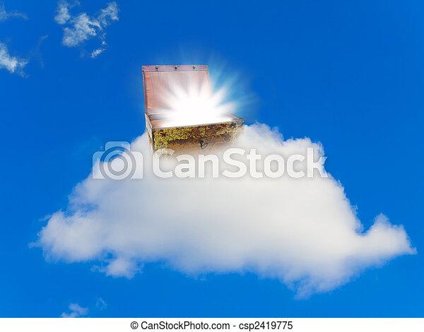 가슴, 보물, 구름 - csp2419775