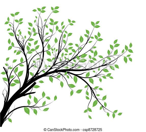 가지, 벡터, 실루엣, 장식적이다 - csp8728725