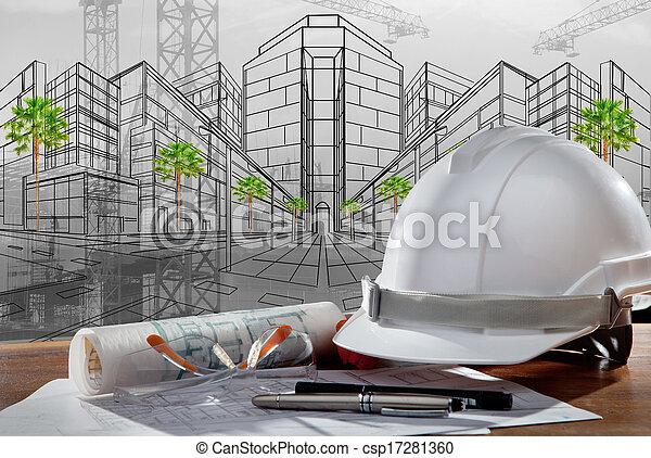 건물, 헬멧, 안전, 장면, pland, 나무, 건축가, 파일, 테이블, 해석, 일몰 - csp17281360