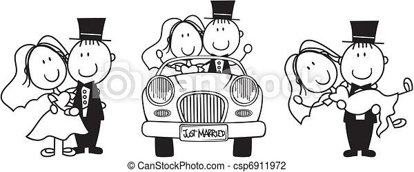 결혼식, 만화, 초대 - csp6911972