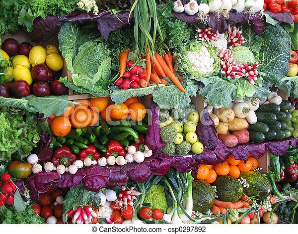 과일, 다채로운, 야채 - csp0297892