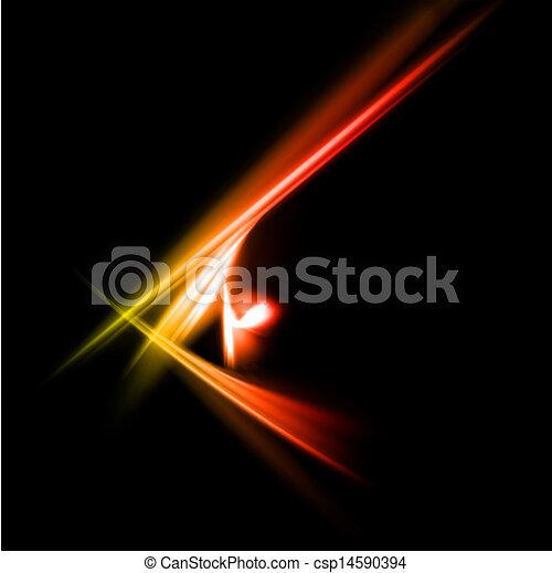 광선, 떼어내다, lights., 황색, 벡터, 빨강 - csp14590394