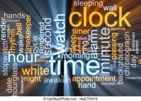 구름, 시계, 낱말, 백열하는 것 - csp2750418