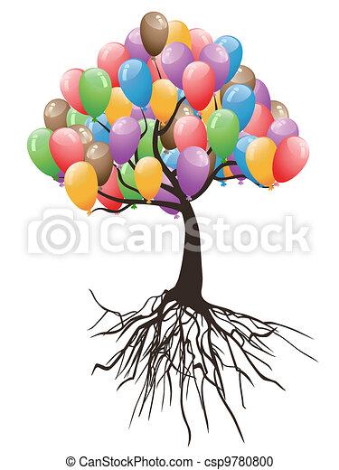 기구, 휴일, 나무, 행복하다 - csp9780800