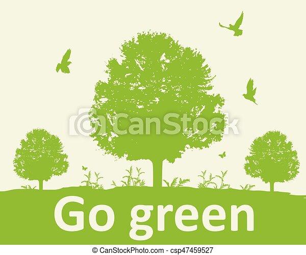 나무, 녹색의 배경 - csp47459527