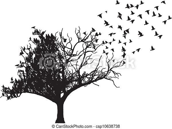 나무, 벡터, 예술, 새 - csp10638738