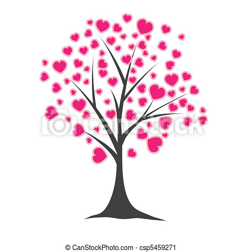 나무, 벡터, hearts., 삽화 - csp5459271