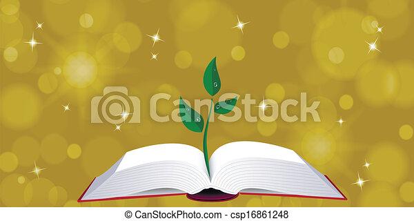 나무, 책, 열려라, 내밀게 하다 - csp16861248