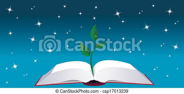 나무, 책, 열려라, 내밀게 하다 - csp17013239