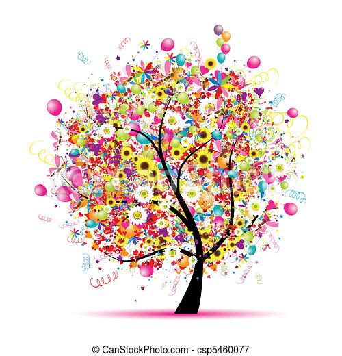 나무, 행복하다, 휴일, 혼자서 젓는 길쭉한 보트, 기구 - csp5460077