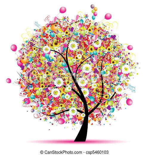 나무, 행복하다, 휴일, 혼자서 젓는 길쭉한 보트, 기구 - csp5460103