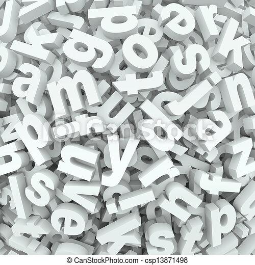 낱말, 혼란, 알파벳, 유출하는, 배경, 편지, 혼란 - csp13871498