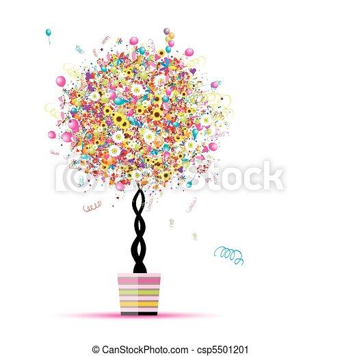 너의, 기구, 휴일, 혼자서 젓는 길쭉한 보트, 나무, 행복하다, 냄비 따위 하나 가득, 디자인 - csp5501201