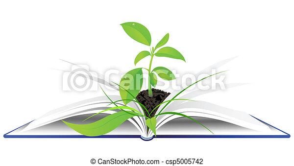 녹색의 식물, 책, 열려라, 나이 적은 편의 - csp5005742