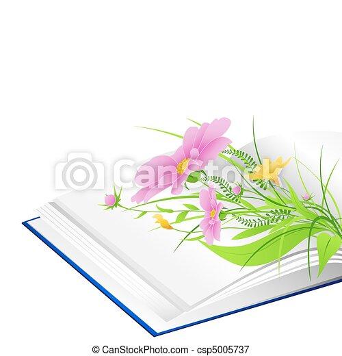 녹색, 꽃, 풀, 열린 책 - csp5005737