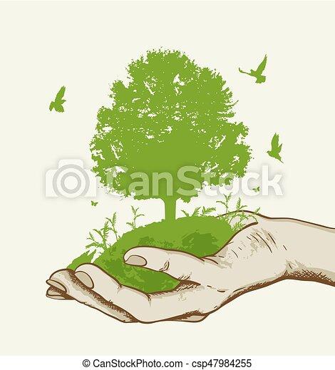 녹색 나무, 손 - csp47984255