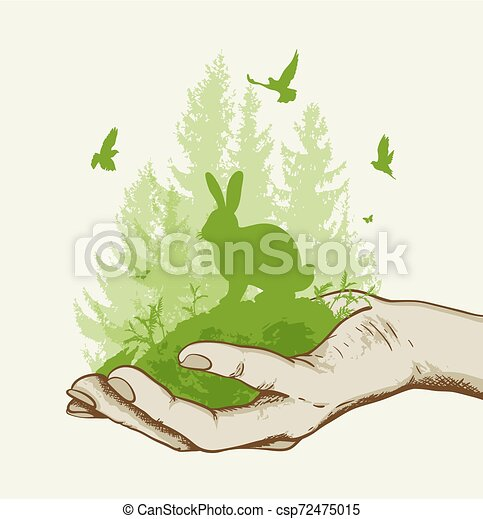 녹색 나무, 토끼, 손 - csp72475015
