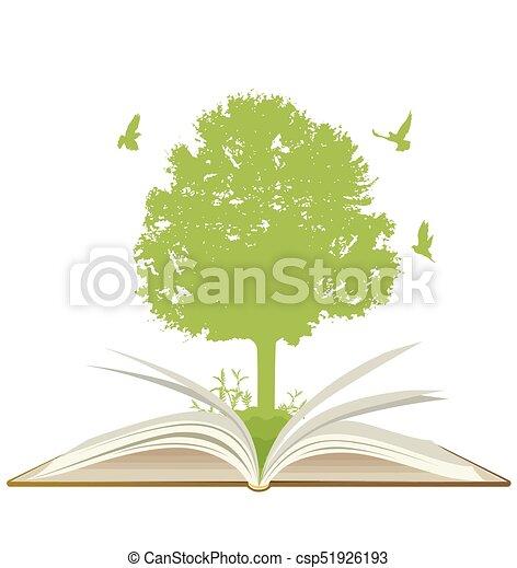 녹색, 책, 열려라, 나무 - csp51926193