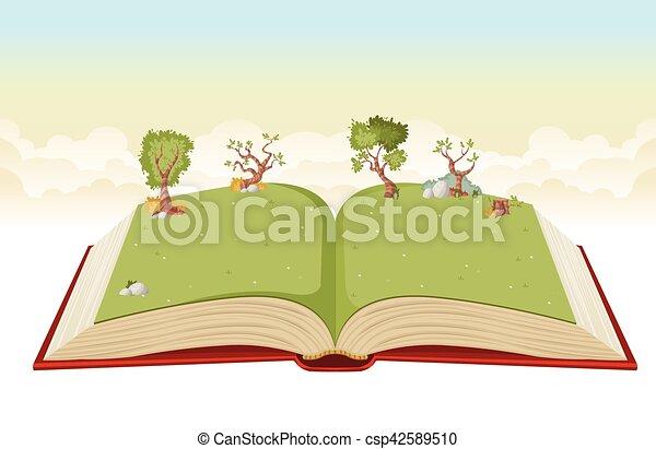 녹색, 책, 열려라, park. - csp42589510