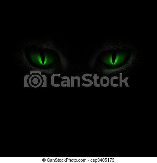 눈, 백열하는 것, 녹색, 고양이, 암흑 - csp3405173