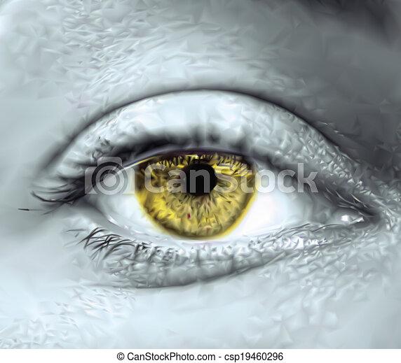 눈, 벡터, macro., 황색, 여성 - csp19460296