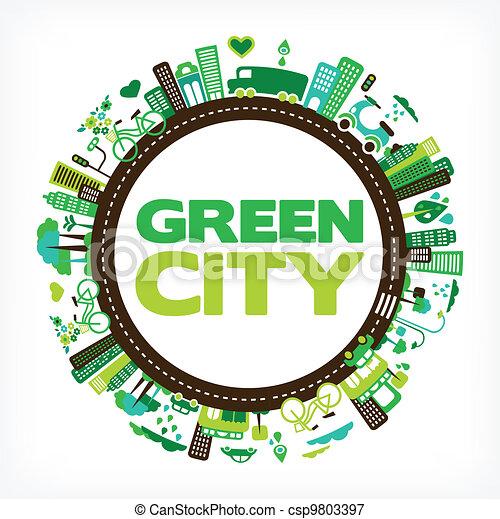 도시, 생태학, -, 환경, 녹색, 원 - csp9803397