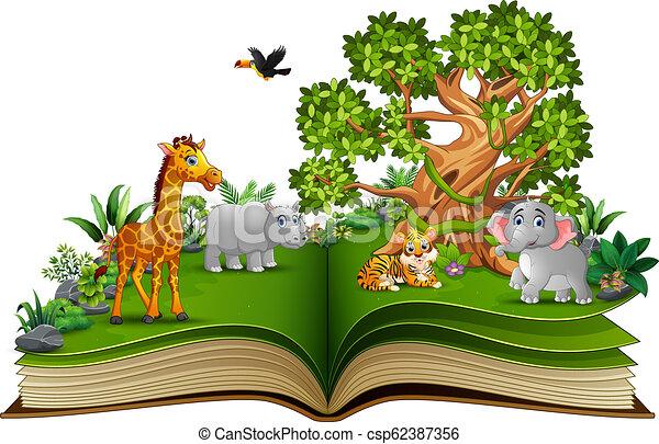 동물, 큰 나무, 책, 열려라, 만화 - csp62387356