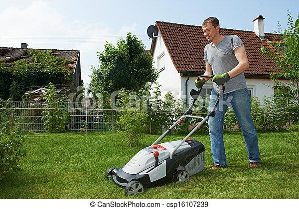 뒤뜰, 잔디, 깎고 있는 사람 - csp16107239