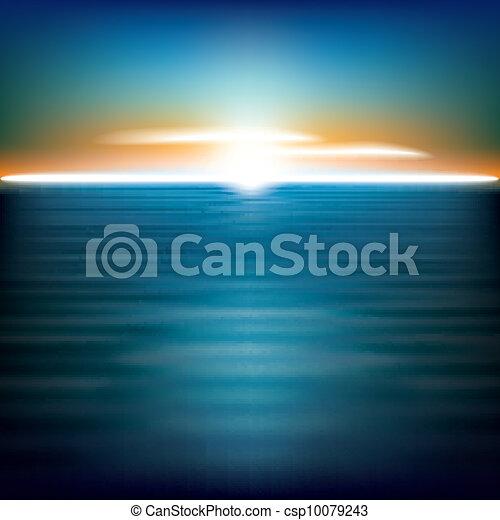 떼어내다, 배경, 바다, 해돋이 - csp10079243