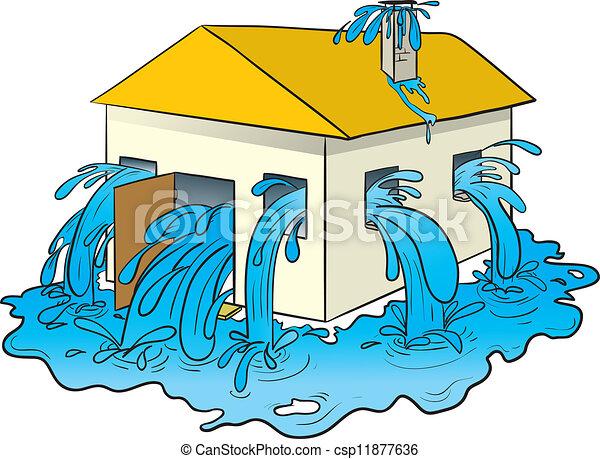 물, 붓는 것의, 집에서 - csp11877636