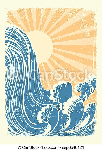 물, grunge, 파랑, waterfall., 배경, 태양, 파도, 벡터 - csp6548121