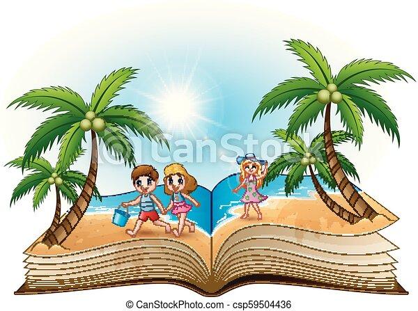 바닷가, 책, 열려라, 아이들, 행복하다 - csp59504436