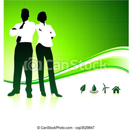 배경, 녹색의 비즈니스, 환경, 팀 - csp3529847