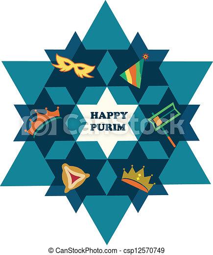 별, 유태인, purim., david, 물건, 휴일, 행복하다 - csp12570749