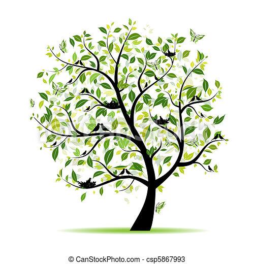 봄, 나무, 너의, 녹색, 디자인, 새 - csp5867993