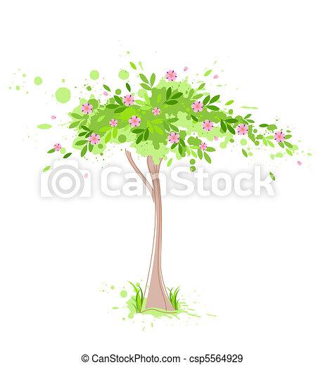 봄, 녹색 나무 - csp5564929