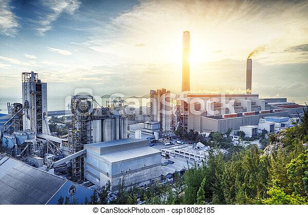 빛, 산업, 석유 화학 제품, 백열, sunset. - csp18082185