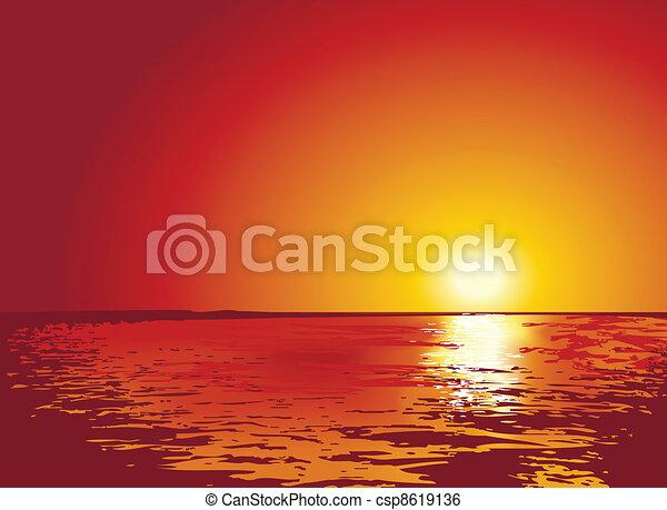 삽화, 일몰, 또는, 해돋이, 바다 - csp8619136