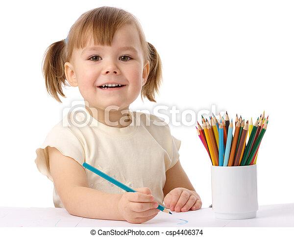 색, 귀여운, 아이, 끌기, 연필 - csp4406374