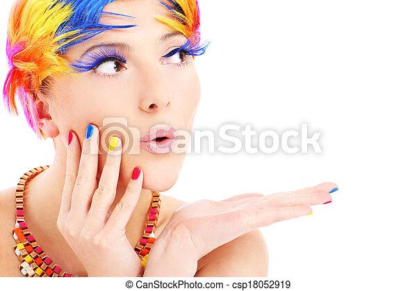 색, 머리, 여성 얼굴 - csp18052919
