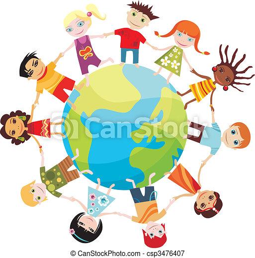 세계, 아이들 - csp3476407
