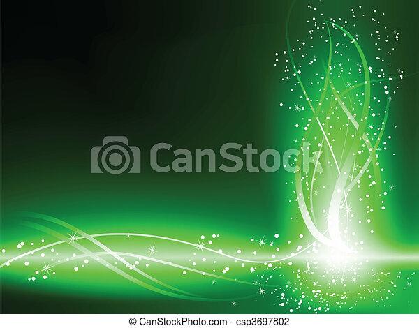 소용돌이, 녹색의 배경, 은 주연시킨다 - csp3697802
