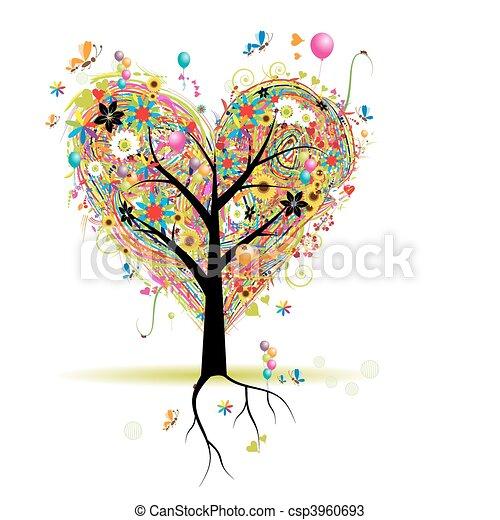 심장, 나무, 휴일, 모양, 기구, 행복하다 - csp3960693