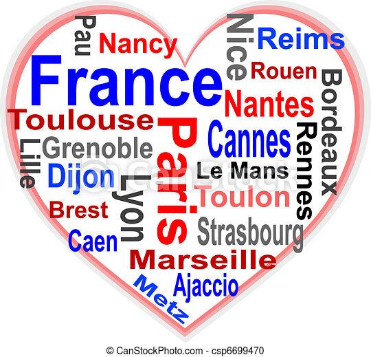 심장, 더 큰, 프랑스, 낱말, 도시, 구름 - csp6699470