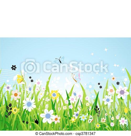 아름다운, 봄, 목초지 - csp3781347