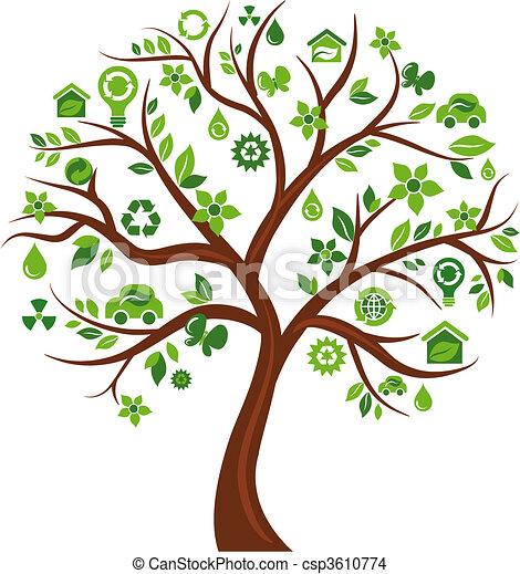 아이콘, 나무 3, -, 생태학의 - csp3610774