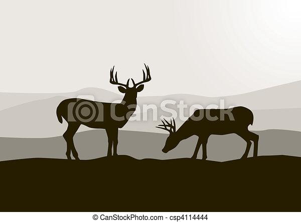 야생의, 사슴, 실루엣 - csp4114444