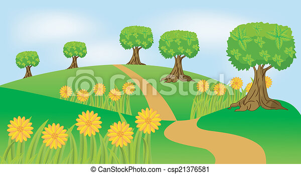 여름, 꽃, 조경술을 써서 녹화하다 - csp21376581