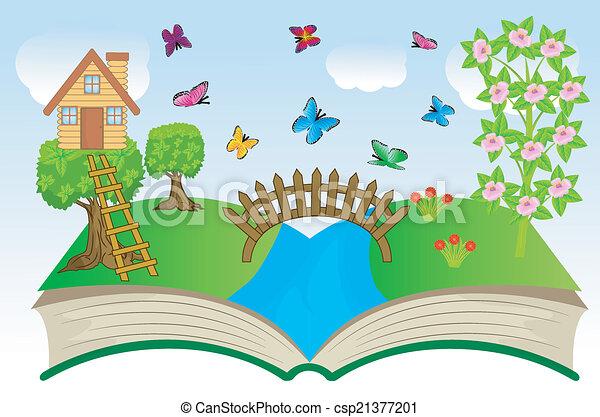 여름, 책, 열려라, 조경술을 써서 녹화하다 - csp21377201