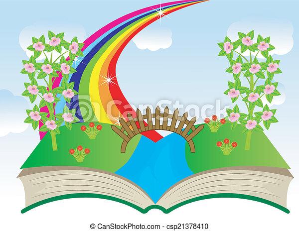 여름, 책, 열려라, 조경술을 써서 녹화하다 - csp21378410